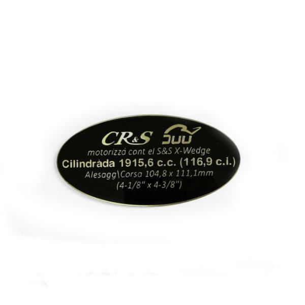 Targa motor CR&S X-Wedge Urtin latón lacado negro original